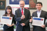 British Ambassador to Japan Tim Hitchens CMG LVO (centre) presented certificates to Yurie Fukuda (left) and Yosuke Fukushima in recognition of their appointment as this year's Chevening UK scholars at an event at the BritishEmbassy Tokyo on 1 September.