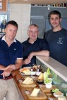 Attending the fifth British Cheese Tasting Party at The White Fox bar and restaurant in Oji on 30 June were (from left) Stephen John Davis, director of I Love Cheese Co., Ltd.; Sean Brophy, director of I Love Cheese Co., Ltd.; and Trevor Blyth, chef and owner of The White Fox.