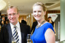 British Business Awards Graham Davis, BCCJ executive committee member, and Jennifer Shinkai of en world group at the Champagne reception.