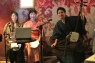 "Narrator and instrumentalists at the ""Cine Illumine presents Orochi"" silent movie extravaganza, held at London's Volupte Lounge on 2 September, were (from left) Tomoko Terada, Kyoko Morita and Hibiki Ichikawa."
