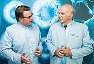 Cell therapy's chief executive, Keith Thompson (left), met with Vince Cable MP