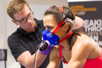 A staff member monitors Dame Kelly Holmes DBE MBE.