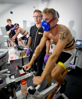 Jenson Button MBE (front) goes head-to-head with Jonathan Brownlee.