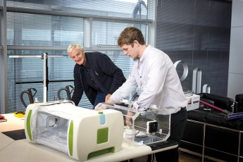 James Roberts shows his invention to James Dyson.