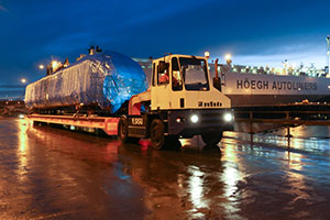 Hitachi Rail Europe's training carriage arrives at the Port of Tyne in North East England.