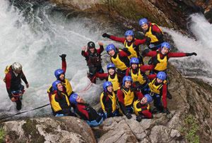 Programme teams enjoy canyoning.