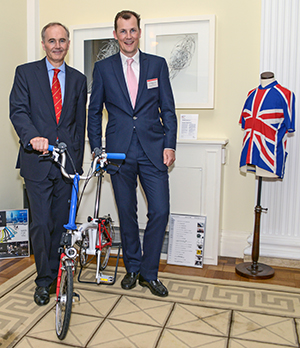 British Ambassador to Japan Tim Hitchens CMG LVO (left) and Will Butler-Adams OBE, chief executive of Brompton Bicycles, at the British Embassy Tokyo