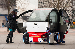 The electric-powered pod is a compact driverless two-seater vehicle.