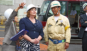 Staff at Nagasaki harbour briefed Fiona Hyslop on the Giant Cantilever Crane.
