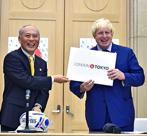 Yoichi Masuzoe and Boris Johnson unveiled a new London–Tokyo partnership.