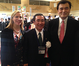 Anna Dingley, with attendees of a Kagoshima reunion in Tokyo in January