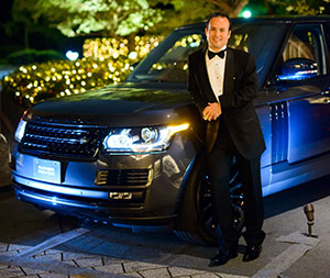 Jaguar Land Rover Japan's chief executive Magnus Hansson pictured outside the venue.