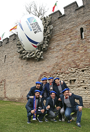 A giant rugby ball in the wall of Cardiff Castle attracted fans.