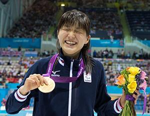 Rina Akiyama won a gold medal in the 100m backstroke at the 2012 Paralympics.