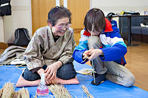 Elderly residents teach young people traditional skills.