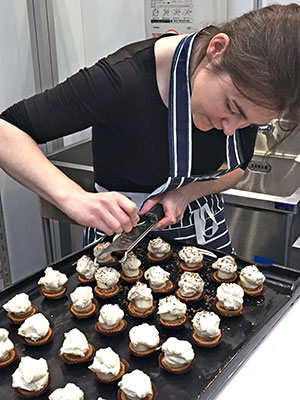 Stacey Ward, founder of Mornington Crescent bakery and baking school, made desserts at Foodex 2016, in March.
