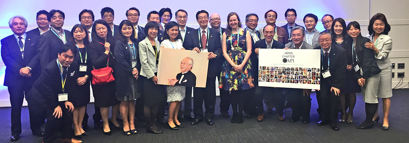 Fiona Pelham (left) with the Japan chapter of Meeting Professionals International
