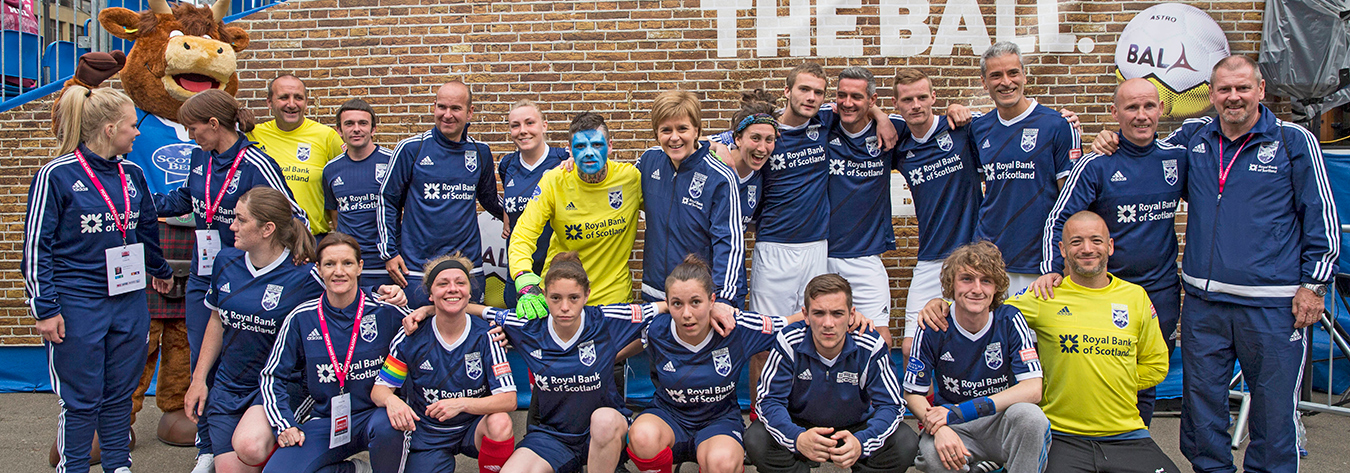Nicola Sturgeon, Scotland's First Minister, centre, attended the Homeless World Cup.
