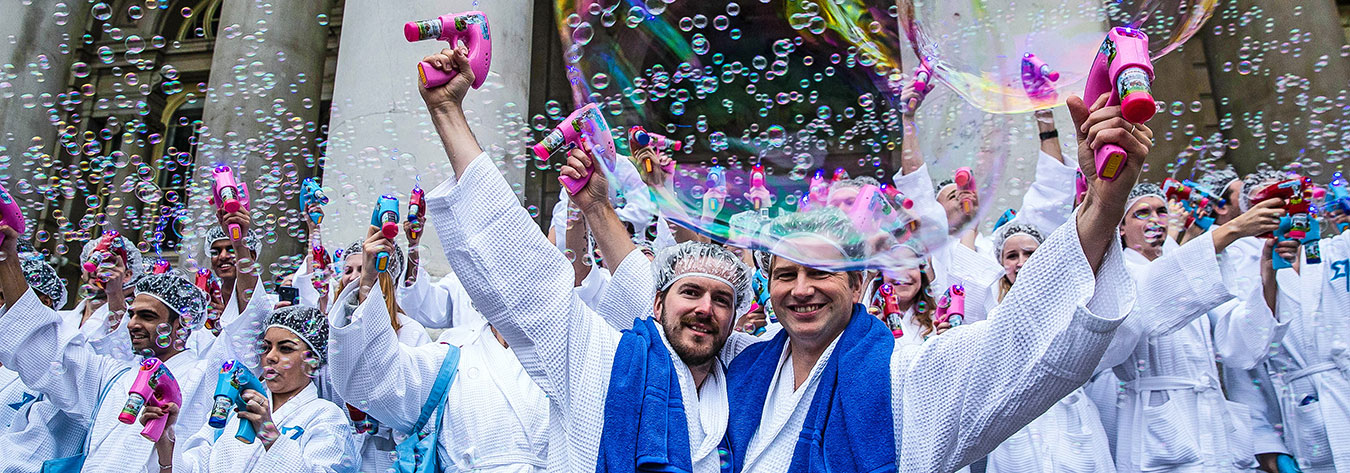 "TransferWise has become known for its PR stunts in London. In February 2015, the firm held a ""bubble bath"" to ""clean up"" banks."