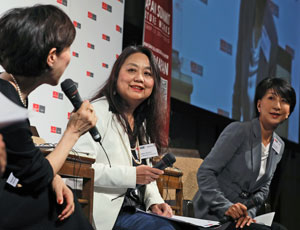 (From left) Kaori Sasaki, chief executive officer of ewoman; Machiko Osawa, director of research at Japan Women's University's Institute for Women and Careers; and Fujiyo Ishiguro, president of Netyear Group