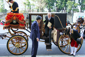 Arriving to present his credentials to the Emperor of Japan.