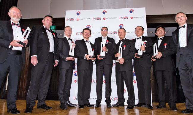 Posing with winners of the 2013 British Business Awards, including Custom Media.