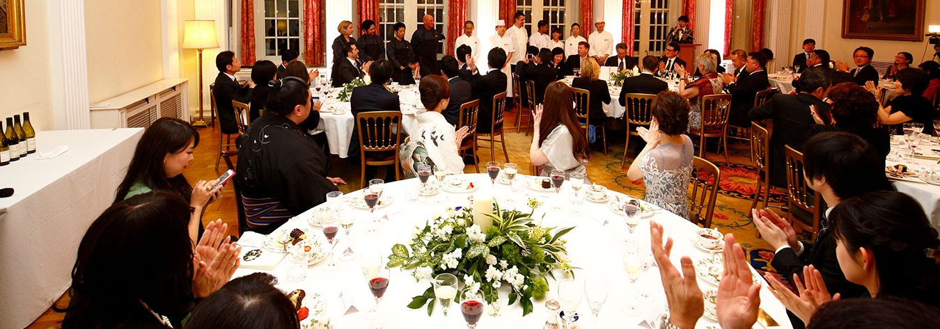 Guests were treated to canapés followed by six courses.