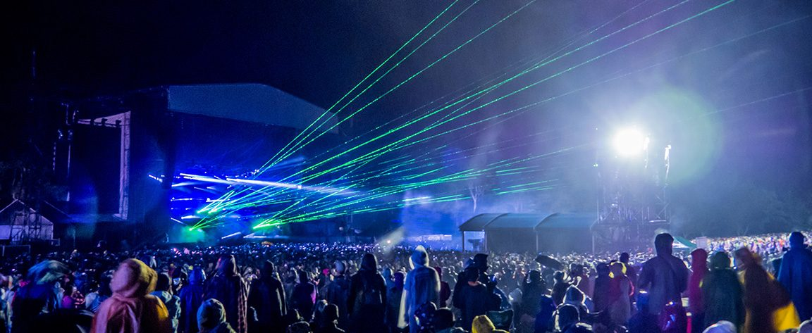 Aphex Twin's set was accompanied by a spectacular laser light show.