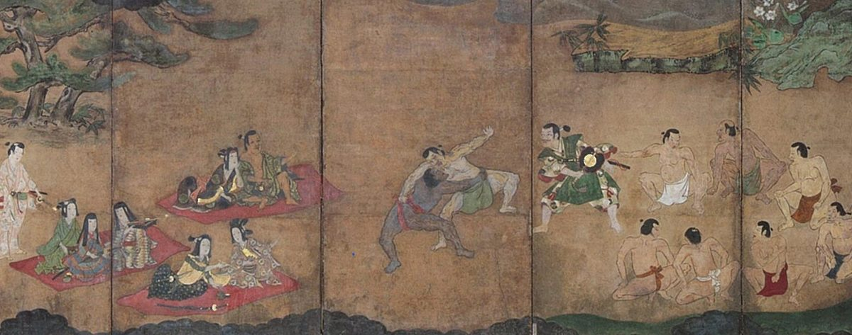 Depiction of Yasuke sumo wrestling